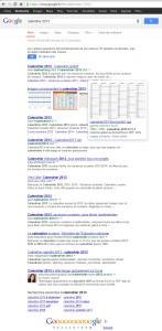 Résultats de la recherche 'calendrier 2013' sur Google le 19/09/2013